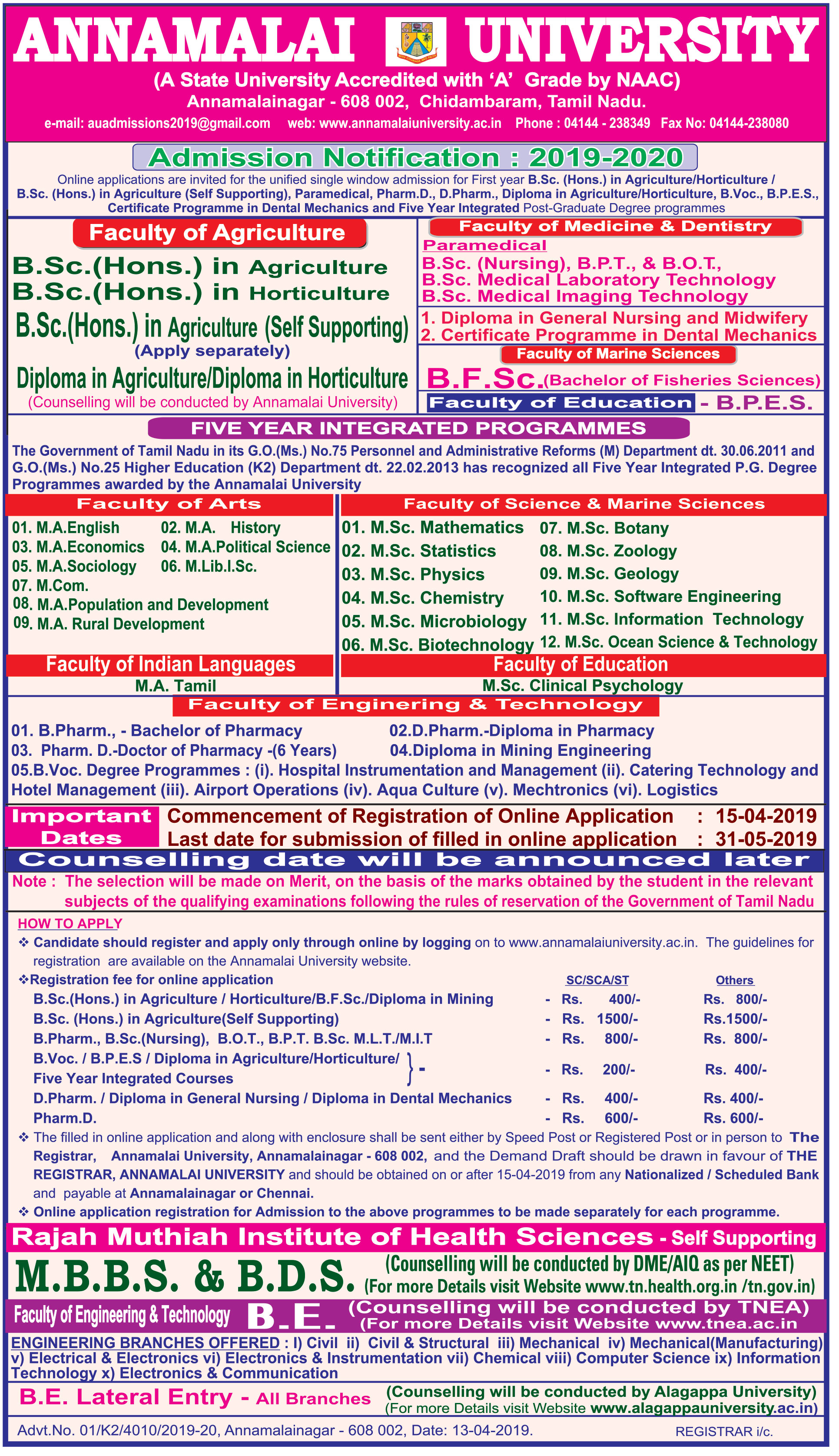 Notification - Admissions 2019-20